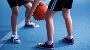 Close up on young children wearing school sportswear