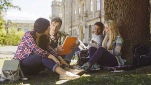 College students having discussion under tree on campus