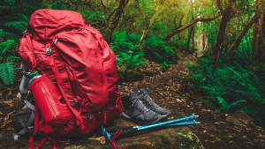 Red backpack hiking boots water bottle