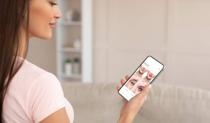 beauty app over shoulder view smiling