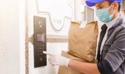 courier protective mask medical gloves delivers