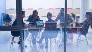 startup business team on meeting in modern bright office interior brainstorming